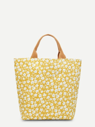 Floral Print Canvas Tote Bag