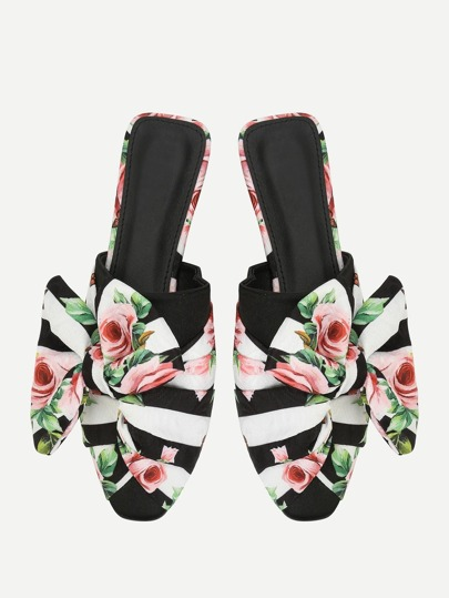 Bow Detail Floral Print Flats