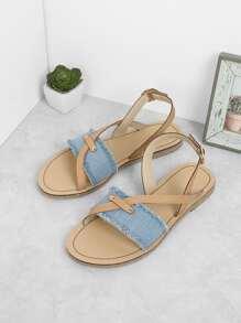 Denim Flat Slingbacks Sandals
