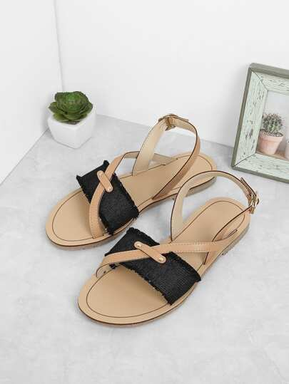 Denim Flat Slingbacks Sandals
