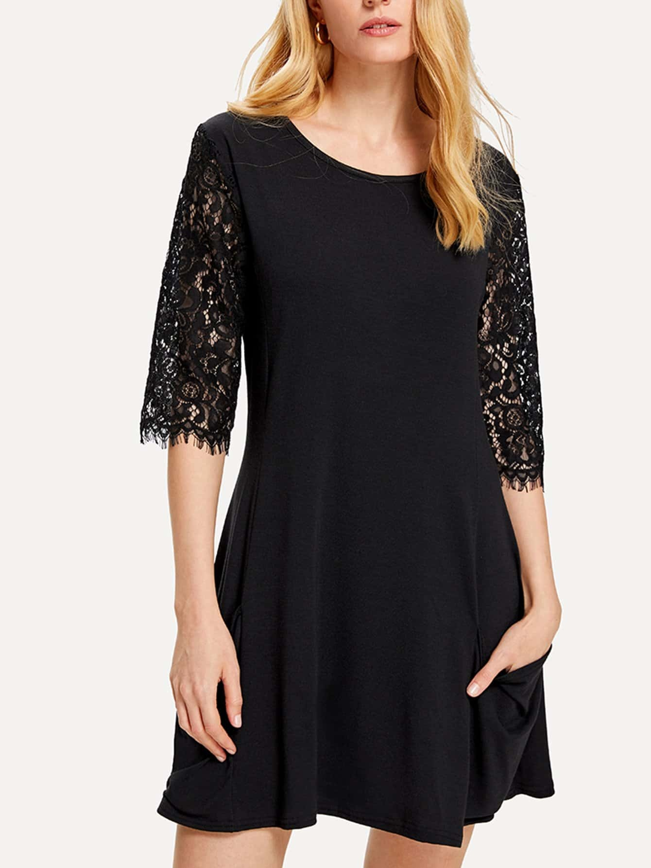 Lace Sleeve Pocket Side Dress batwing sleeve pocket side curved hem textured dress