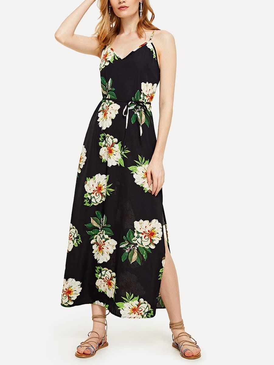 Floral Print Self Tie Waist Dress self tie floral