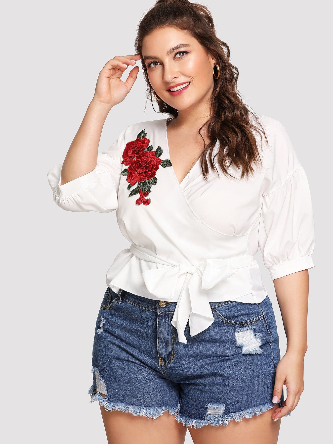 Rose Embroidery Knot Front Top embroidery applique knot back fitted