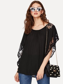 Batwing Sleeve Lace Panel Top