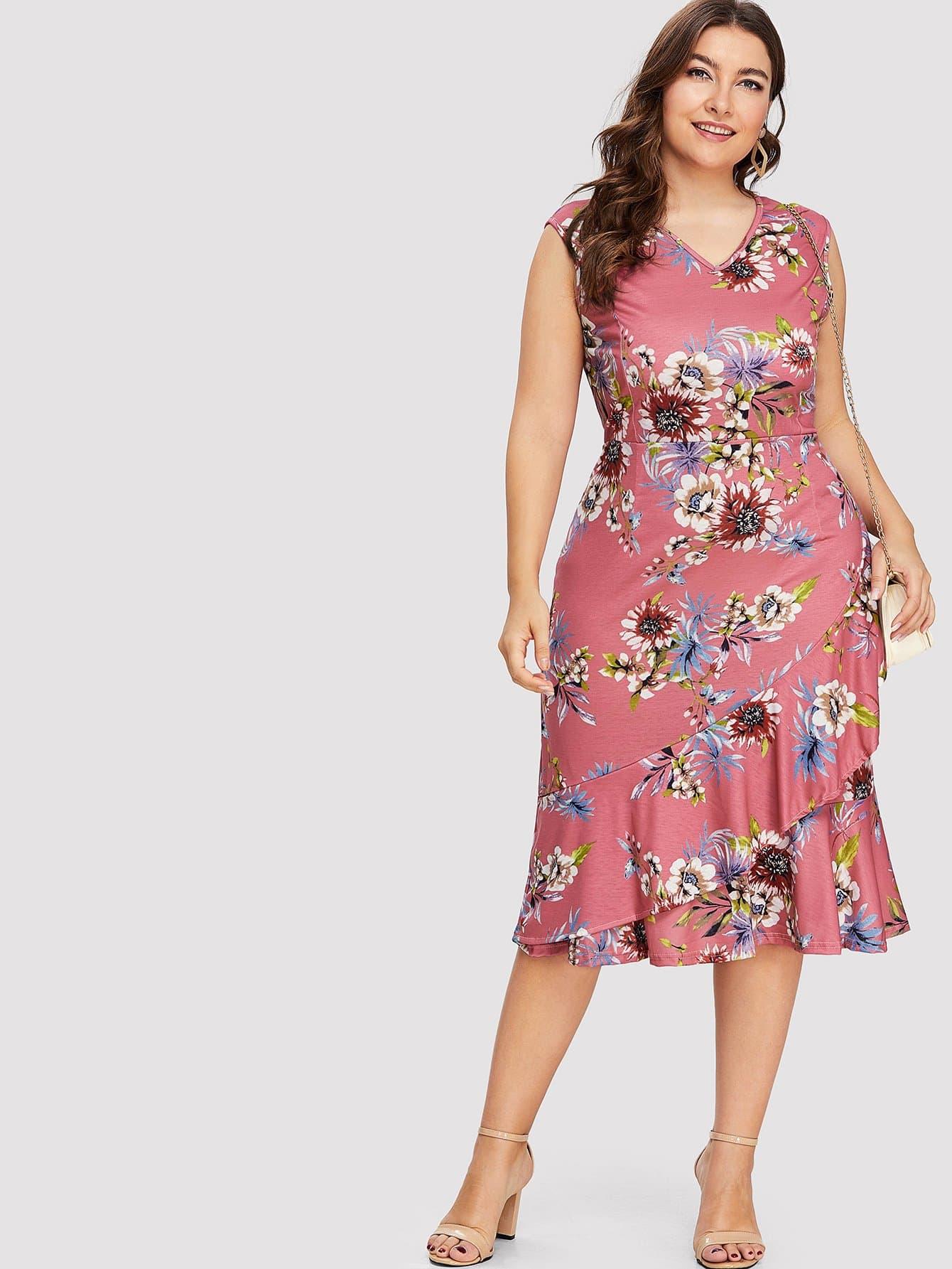 Plus V Neckline Floral Print Ruffle Hem Dress wrap front tied v back ruffle hem dress