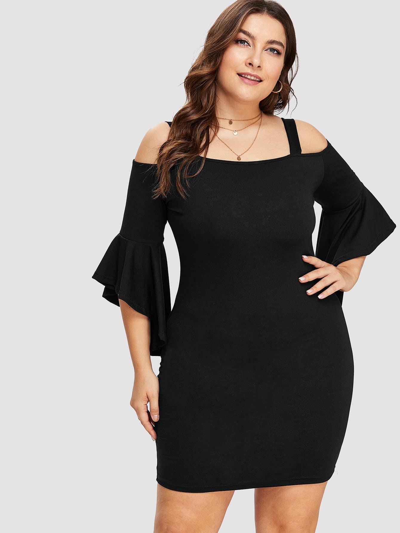 Купить Платье с широкими рукавами и открытыми плечами, Franziska, SheIn