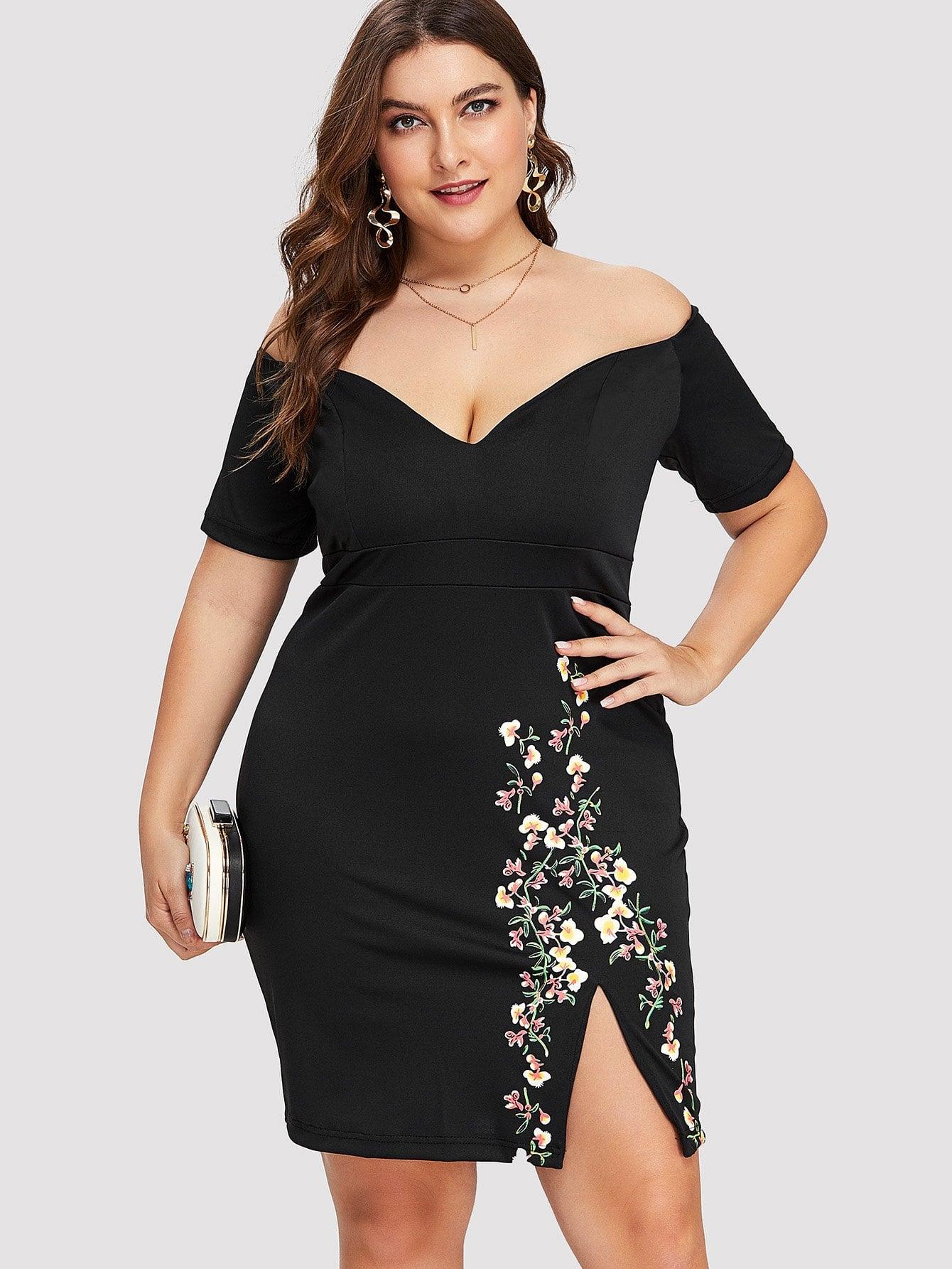Off Shoulder Floral Print Split Hem Dress sweet off the shoulder floral dress for women