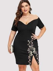 Plus Off Shoulder Floral Print Split Hem Dress