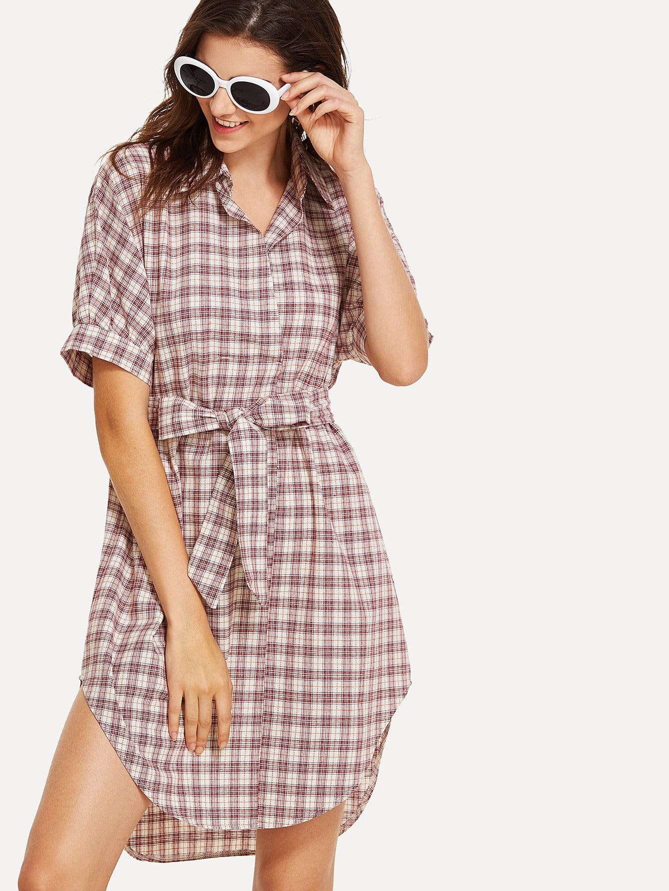 Plaid Belted Detail Shirt Dress dkny jeans w15100914126