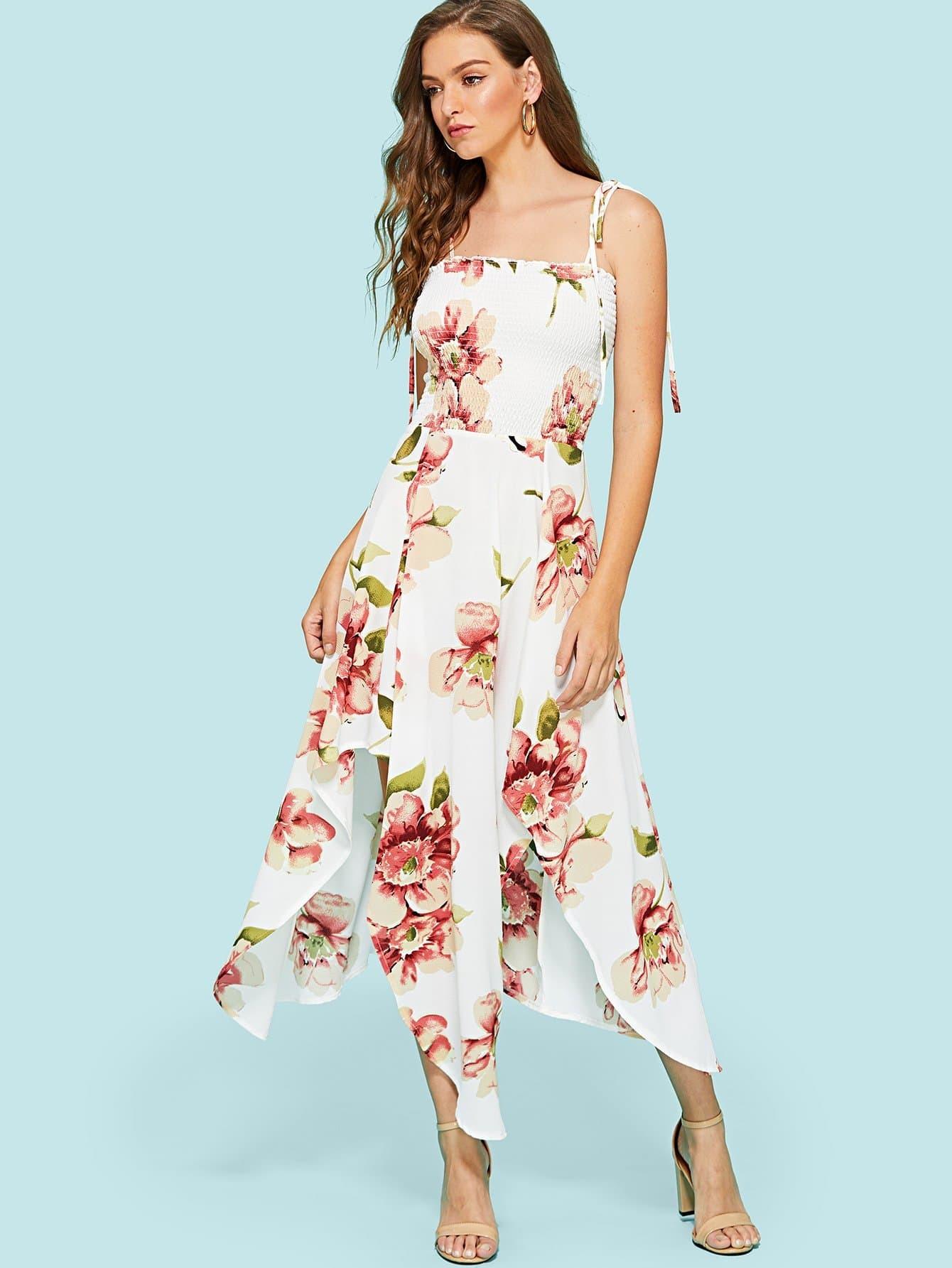 Floral Print Split Hem Cami Dress hanky hem floral print cami tank top