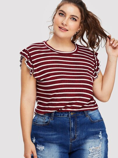 Striped Frill Sleeve Tee