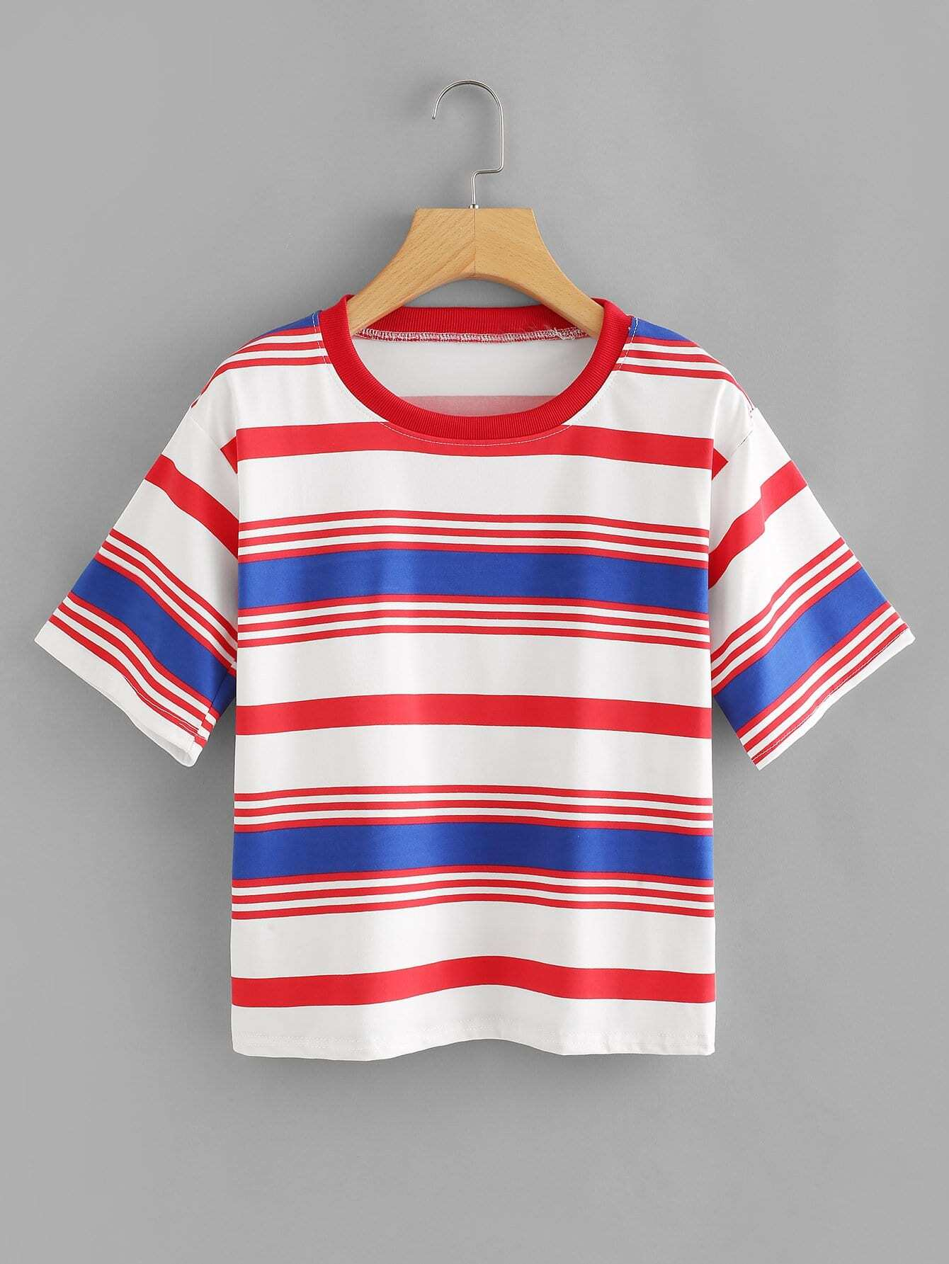 Striped Colorblock Tee colorblock lace up tee
