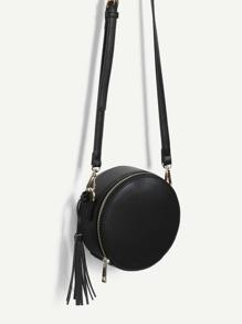 Tassel Detail Zip Around Round Crossbody Bag