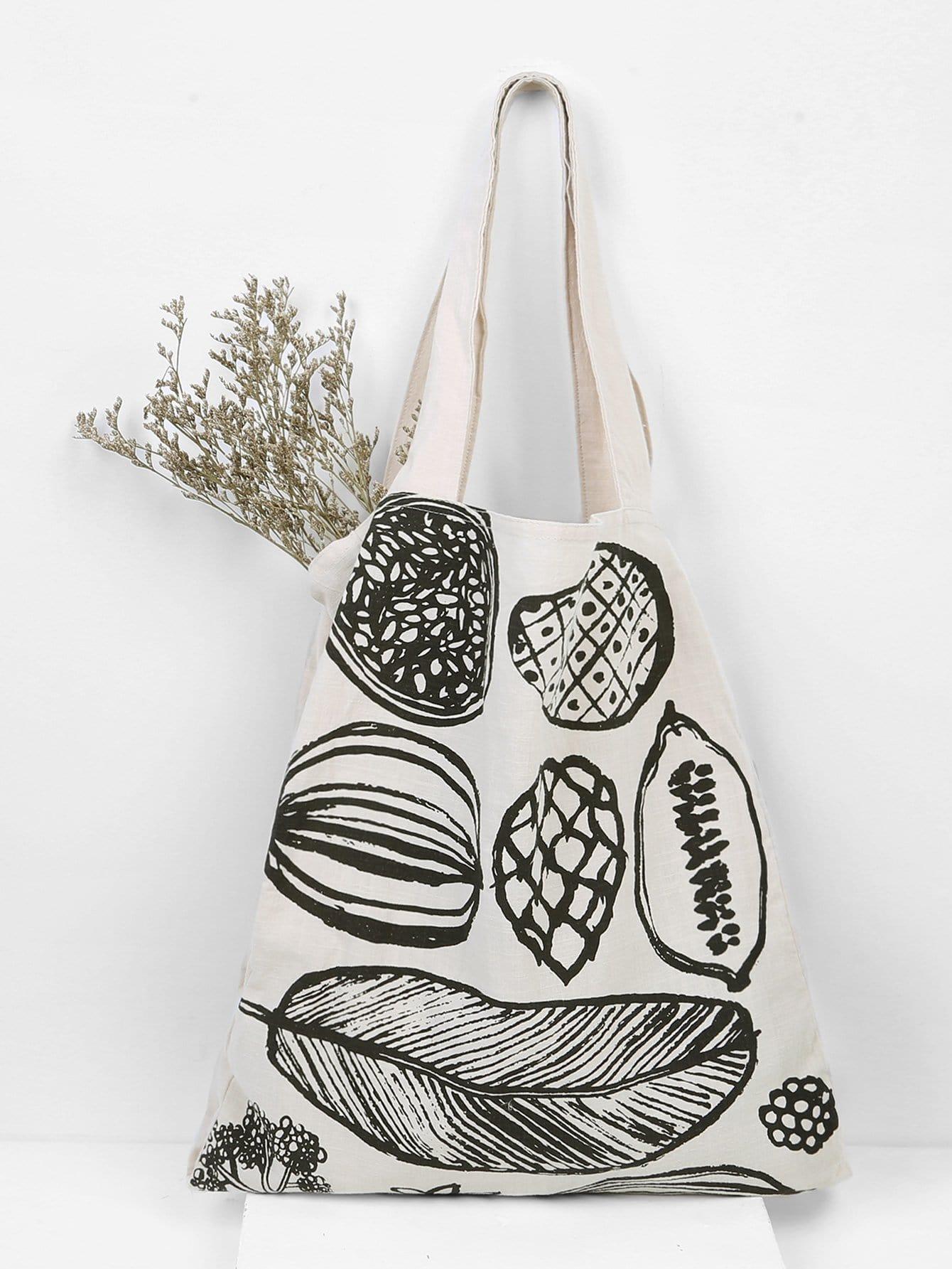 Leaf Print Canvas Tote Bag heel print tote bag