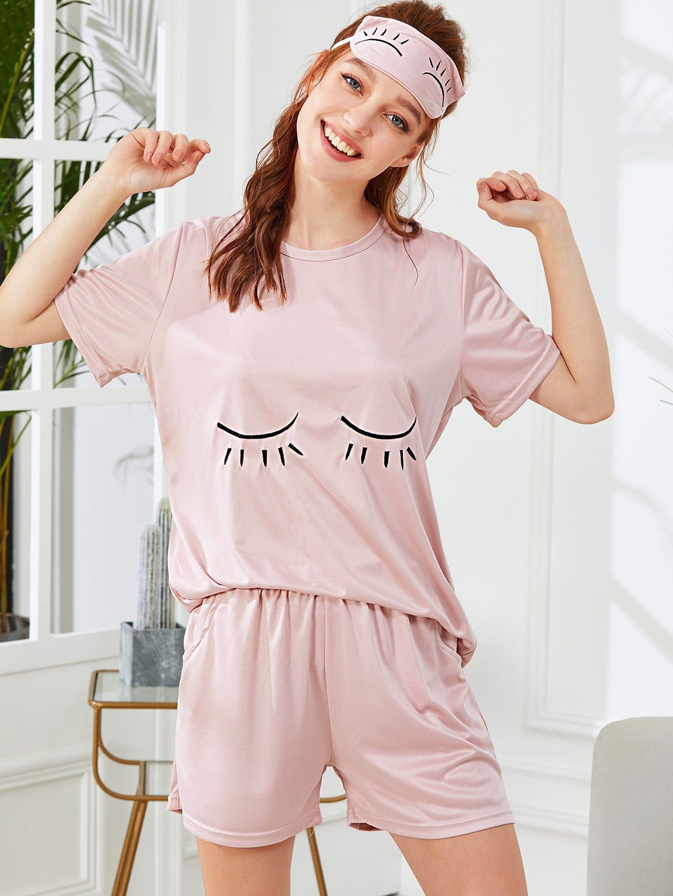 Купить Комплект пижамы топ с принтом глаза и шорты и маска на глаза, Poly, SheIn