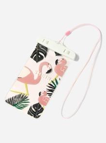 Flamingo Print Waterproof Pouch Bag
