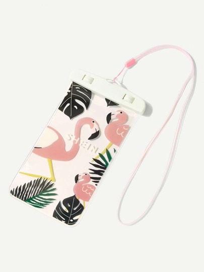Flamingo Print Waterproof Pouch Bag