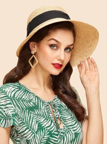 Contrast Bow Straw Hat