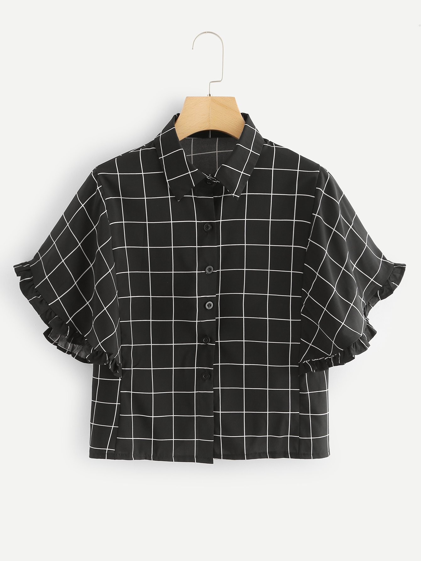 Frill Trim Grid Print Shirt ботинки bronx bronx br336awuvd53