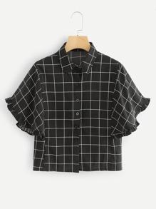 Frill Trim Grid Print Shirt