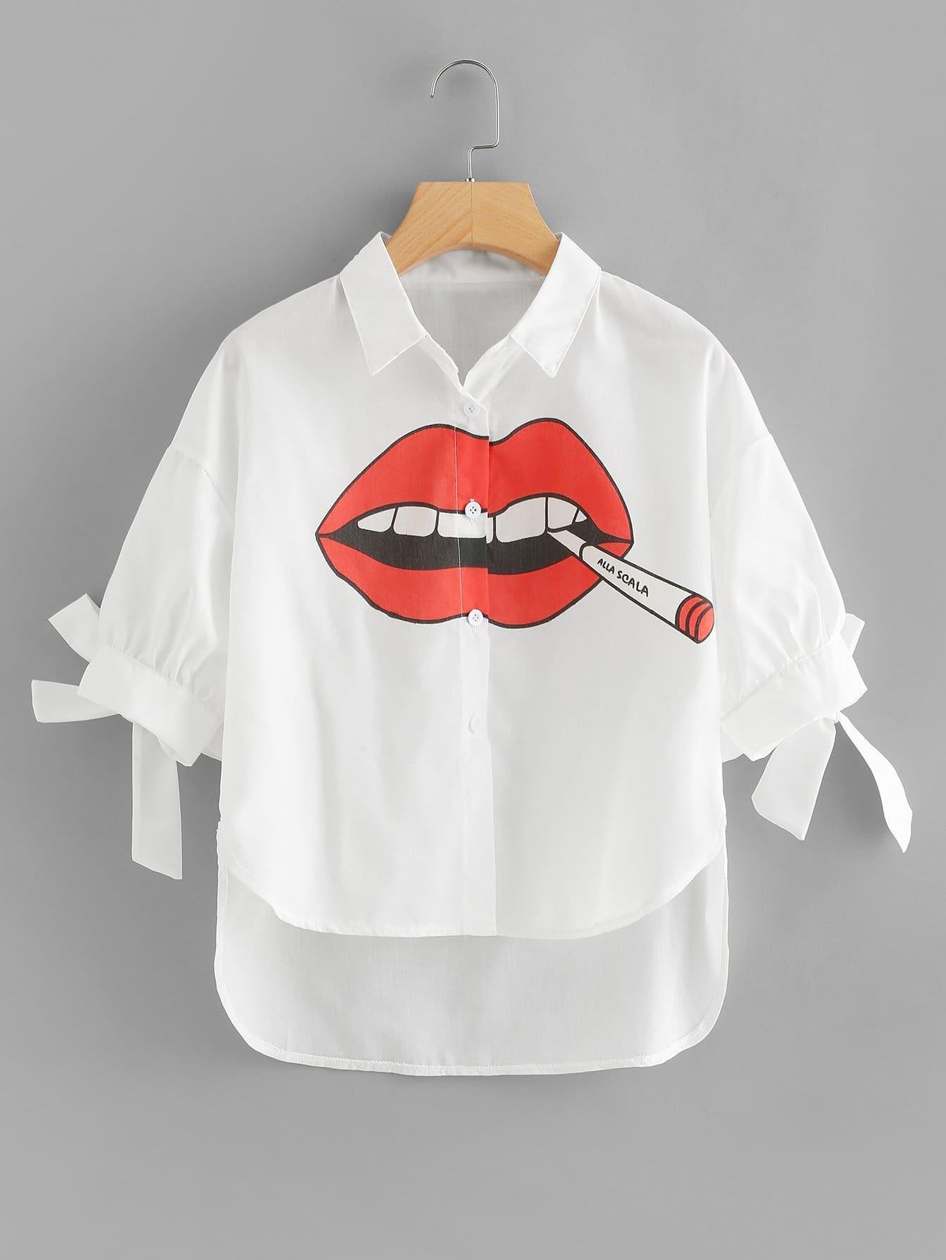 Lip Print Knot Cuff Dip Hem Blouse knot hem red lip tee