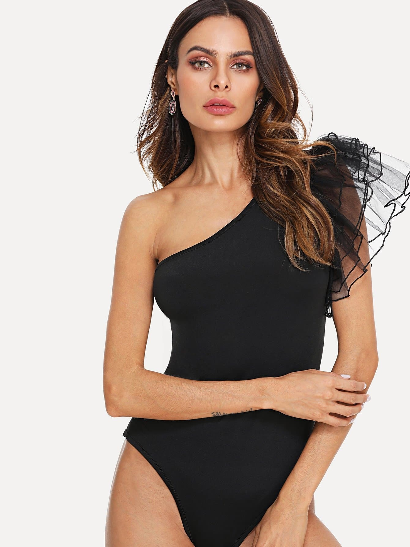One Shoulder Tiered Mesh Ruffle Sleeve Bodysuit striped tiered mesh sleeve off shoulder dress