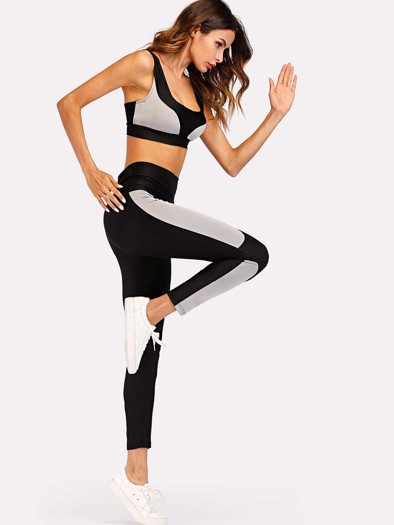 Contrast Panel Sports Bra With Leggings tropical print sports bra with leggings