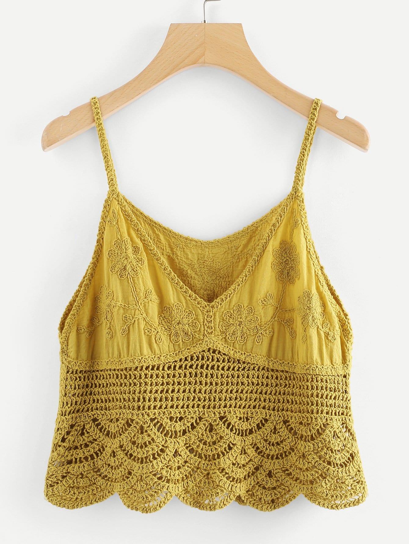 Scallop Hem Hollow Crochet Cami Top crochet lace hollow out cami top