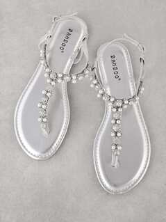 Pearl and Jewel Embellished Glitter T-Strap Sandal