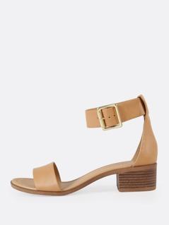 Ankle Strap Buckle Open Toe Low Block Heel