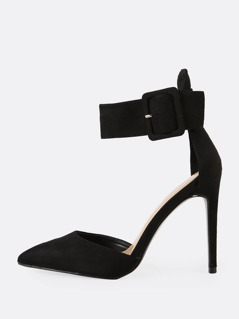 Faux Suede Buckled Ankle Strap Stiletto Pumps