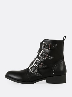 Studded Buckled Strap Moto Boot