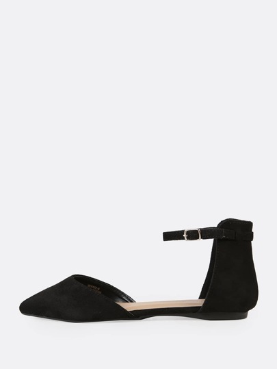 Faux Suede Two Part Ankle Strap Ballet Flats