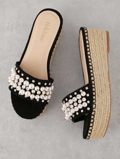 Pearl and Gemstone Embellished Espadrille Wedge Mule Sandal