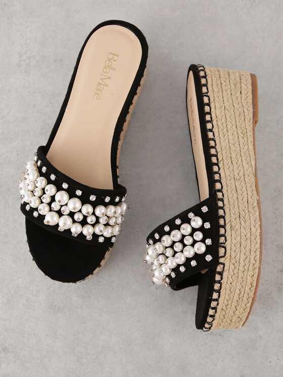 130168034 Pearl and Gemstone Embellished Espadrille Wedge Mule Sandal ...