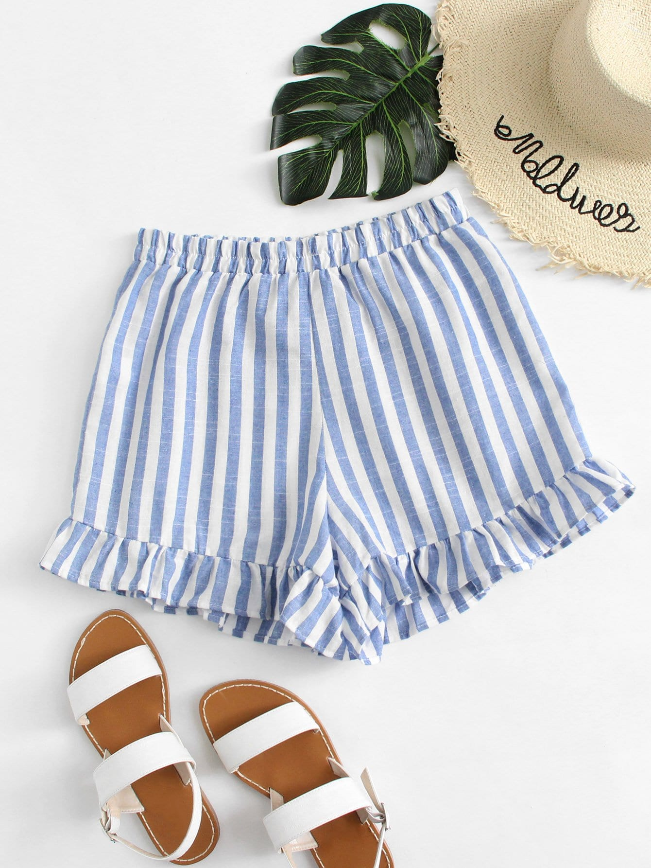 Ruffle Hem Striped Shorts ruffle hem solid shorts