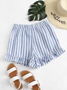 Ruffle Hem Striped Shorts