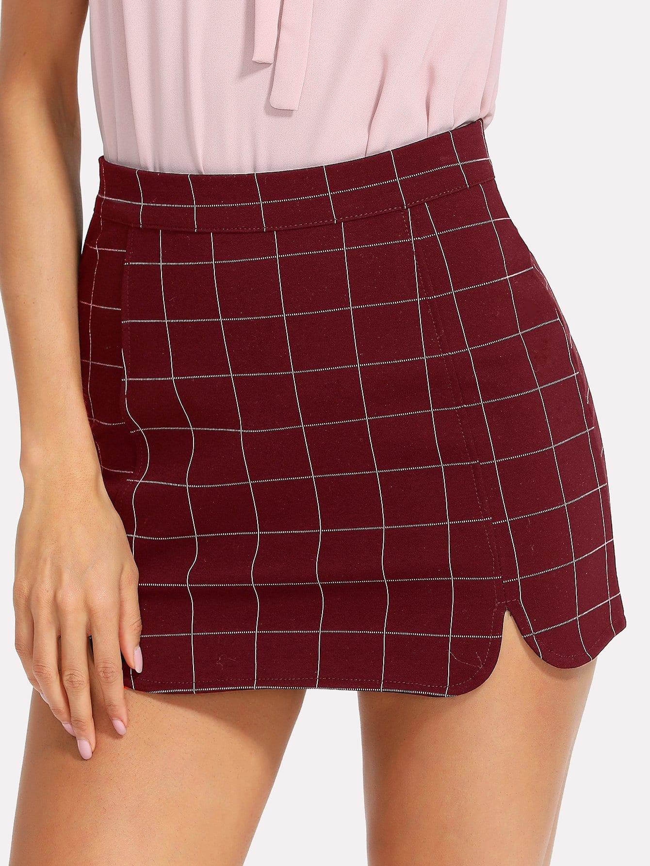 Split Side Zipper Back Plaid Skirt