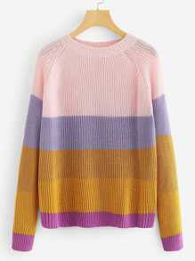 Raglan Sleeve Striped Pullover