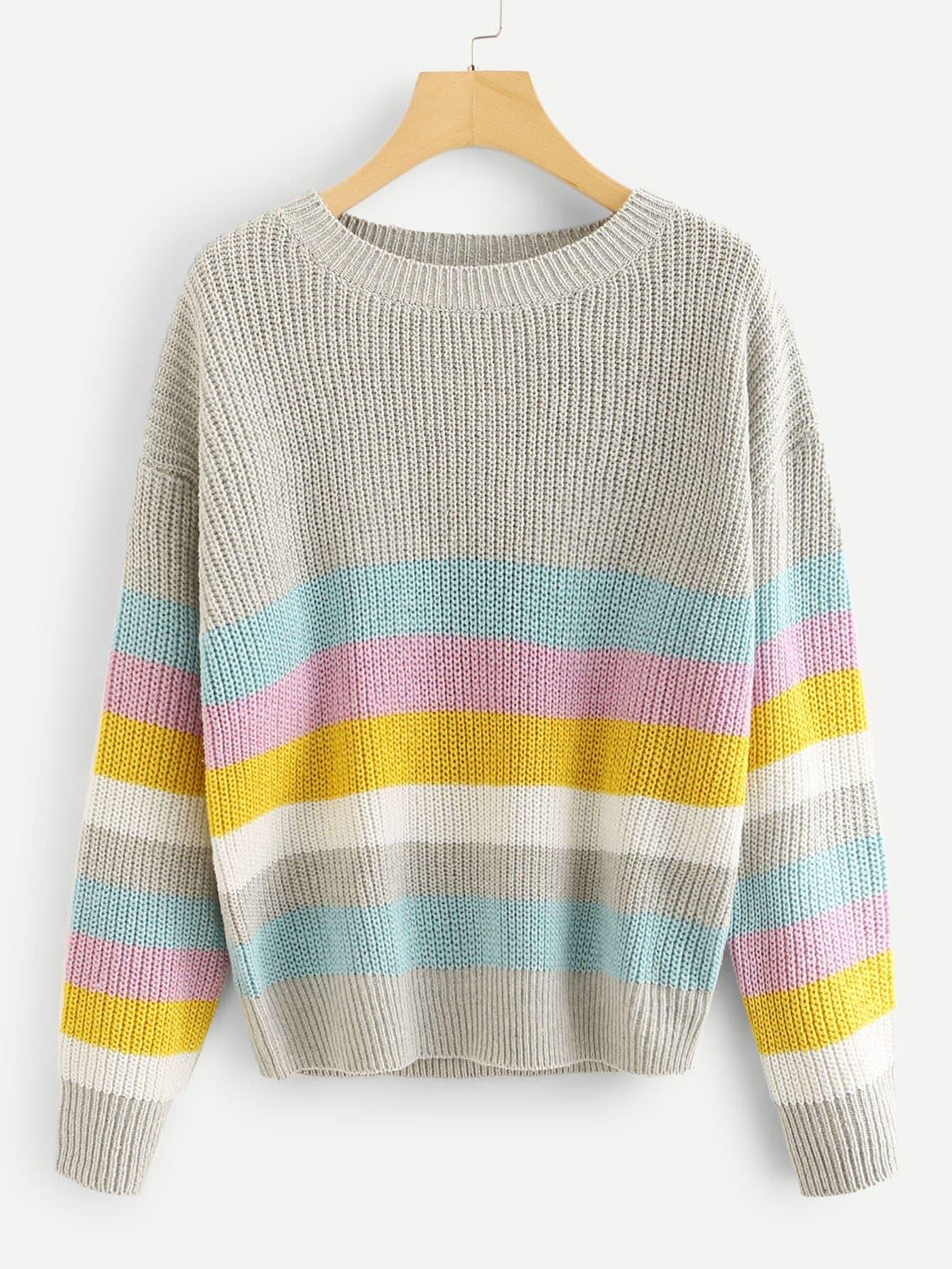 Купить Пуловер в полоску, null, SheIn