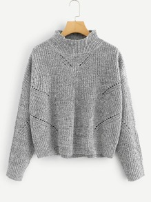 Stand Collar Eyelet Detail Marled Sweater