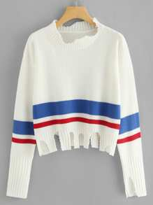 Raw Cut Striped Jumper