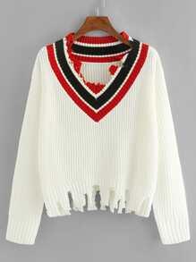 Raw Cut Striped V-Neck Sweater