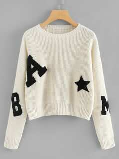 Fleece Patch Detail Drop Shoulder Sweater