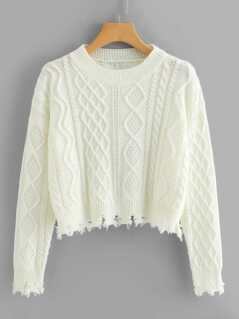Raw Hem Geo Pattern Crop Sweater