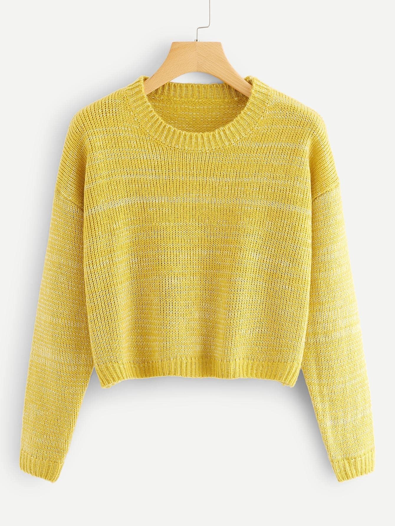 Drop Shoulder Marled Knit Sweater drop shoulder marled sweatshirt dress with corset belt