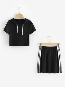 Striped Tape Sleeve Drawstring Top With Skirt