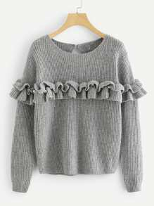 Pearl Beading Ruffle Trim Heathered Sweater