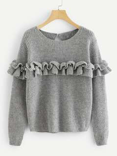 Pearl Beading Ruffle Trim Heathered Sweater