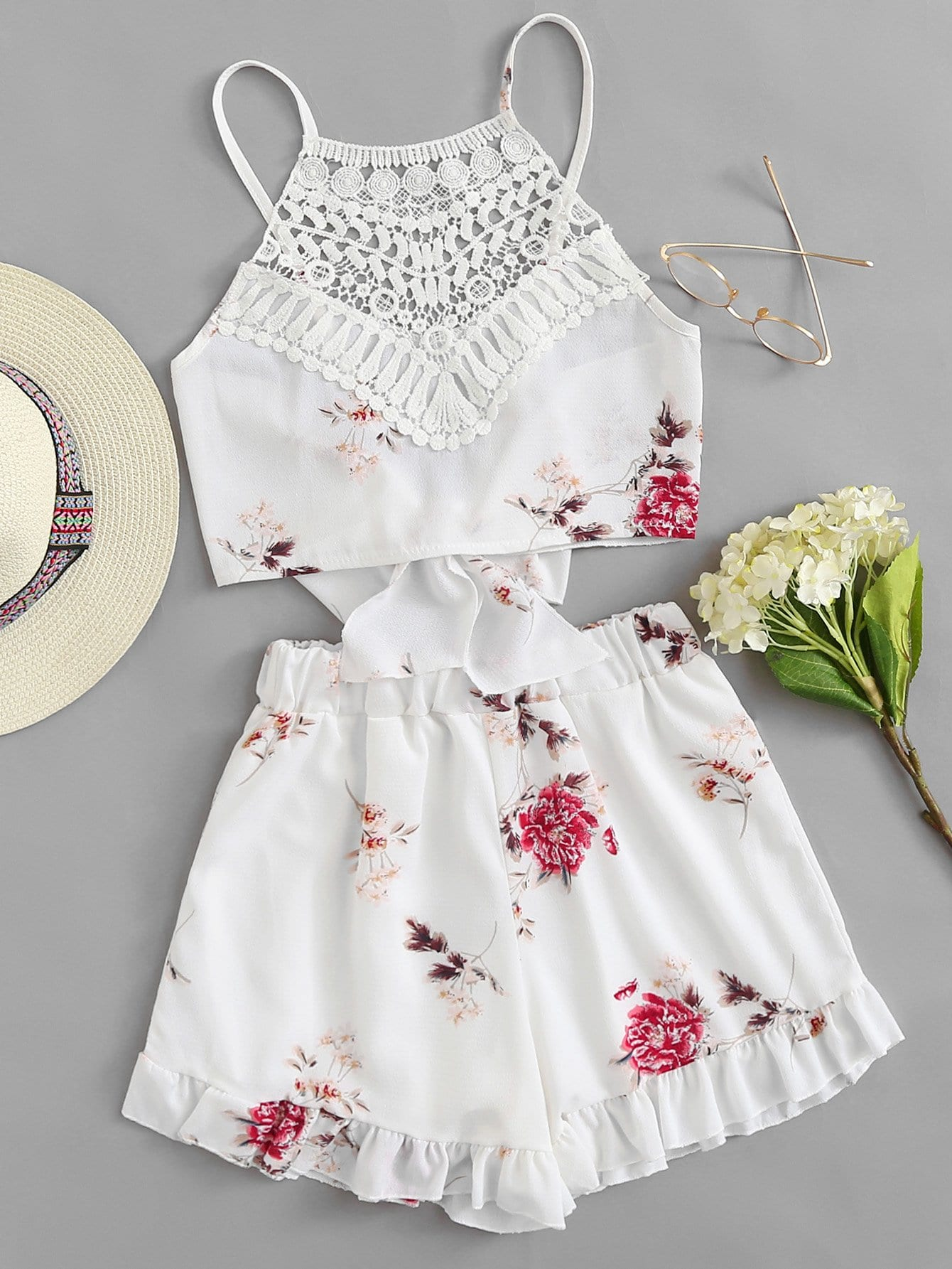 Floral Print Lace Panel Cami With Shorts